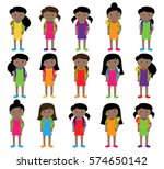 collection of cute and diverse... | Shutterstock .eps vector #574650142