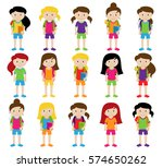 collection of cute and diverse... | Shutterstock .eps vector #574650262