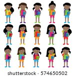 collection of cute and diverse... | Shutterstock .eps vector #574650502