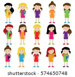 collection of cute and diverse... | Shutterstock .eps vector #574650748