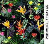 fantastic tropical flowers ... | Shutterstock .eps vector #574651132