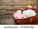 mother's handbag with items to...   Shutterstock . vector #574659286