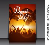 beach disco party with people... | Shutterstock .eps vector #574660432