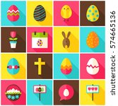 happy easter colorful icons.... | Shutterstock .eps vector #574665136