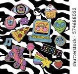 trendy cartoon stickers or... | Shutterstock .eps vector #574688032