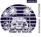 summer bus going to travel. see ... | Shutterstock .eps vector #574692568
