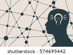 silhouette of a man's head.... | Shutterstock . vector #574695442