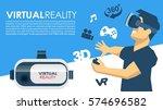vr glasses 3d virtual reality... | Shutterstock .eps vector #574696582