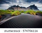 great wind rippled beach black... | Shutterstock . vector #574706116