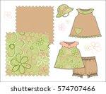 girls' fashion illustration... | Shutterstock .eps vector #574707466
