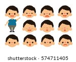 little boy feelings set vector | Shutterstock .eps vector #574711405