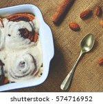 woman prepare cinnamom... | Shutterstock . vector #574716952