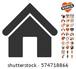 home pictograph with bonus love ... | Shutterstock .eps vector #574718866