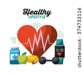 healthy lifestyle related icons ... | Shutterstock .eps vector #574733116
