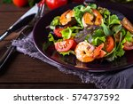fresh salad plate with shrimp ... | Shutterstock . vector #574737592