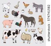 farm animals color set | Shutterstock .eps vector #574741582