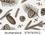 seamless pattern with pine... | Shutterstock .eps vector #574741912