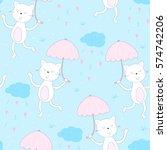 happy cat walk under the rain... | Shutterstock .eps vector #574742206