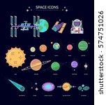 set of space icons. the planets ... | Shutterstock .eps vector #574751026