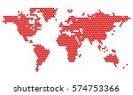 world map dotted in red hearts. ... | Shutterstock .eps vector #574753366