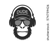 cool dude monkey with glasses... | Shutterstock .eps vector #574759426
