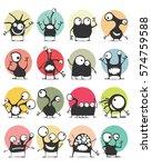 set of sixteen color stickers... | Shutterstock .eps vector #574759588