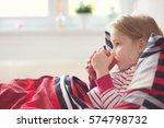 pretty sick little child girl... | Shutterstock . vector #574798732