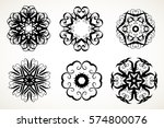 set of ornate lacy doodle... | Shutterstock . vector #574800076