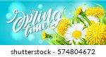 inscription spring time on... | Shutterstock .eps vector #574804672