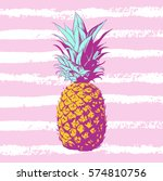 vector hand drawn pineapple... | Shutterstock .eps vector #574810756