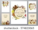 5 backgrounds with paper... | Shutterstock .eps vector #574823065