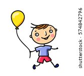 happy boy with balloon. vector... | Shutterstock .eps vector #574842796
