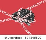 chained brain  on red... | Shutterstock .eps vector #574845502