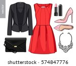 lady fashion set of spring ... | Shutterstock .eps vector #574847776