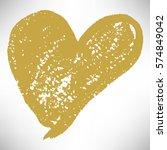 gold hand drawn heart. cute...   Shutterstock .eps vector #574849042