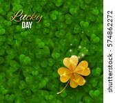 Gold Shiny Four Leaf Clover On...