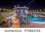 night photo of cruise ship dock ... | Shutterstock . vector #574863196