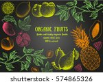 fruits top view frame. farmers... | Shutterstock .eps vector #574865326