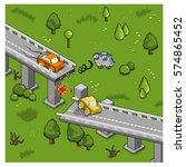 bridge failure  accident with... | Shutterstock .eps vector #574865452