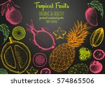 tropical fruits top view frame. ... | Shutterstock .eps vector #574865506