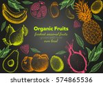 fruits top view frame. farmers... | Shutterstock .eps vector #574865536