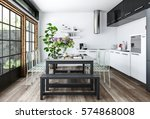 bright kitchen in white and... | Shutterstock . vector #574868008
