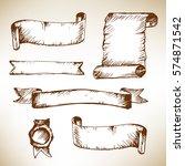 vintage ribbon banners  hand... | Shutterstock .eps vector #574871542