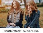 two girls walking city. ... | Shutterstock . vector #574871656