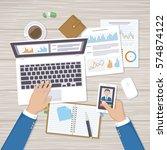 businessman working in the... | Shutterstock .eps vector #574874122