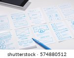 designer working desk with... | Shutterstock . vector #574880512