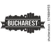 bucharest skyline stamp...   Shutterstock .eps vector #574884955