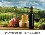red wine in vintage light with... | Shutterstock . vector #574886896