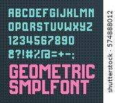 retro style alphabet font. cyan ... | Shutterstock .eps vector #574888012