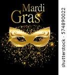 mardi gras golden carnival mask ... | Shutterstock .eps vector #574890022